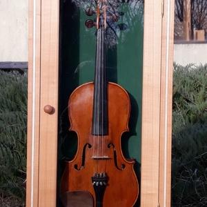 Fali vitrinszekrény, Egyéb, Hangszer, zene, Otthon & lakás, Bútor, Szekrény, Famegmunkálás, Cseresznye fali vitrinszekrény, melyet hegedű tárolására terveztem, de bármilyen egyéb tárgyat mutat..., Meska