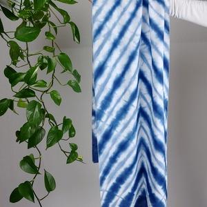 Kék csíkos vállkendő, sál, shibori, batik (witinka) - Meska.hu