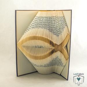 Hal mintájú hajtogatott könyv origami - Keresztény - Vallásos - állatbarátoknak - E197, Otthon & lakás, Egyéb, Dekoráció, Dísz, Lakberendezés, Hajtogatott könyv vagy más néven könyv origami.   ****ALAP INFORMÁCIÓK**** A hajtogatott könyv ideál..., Meska