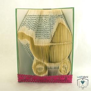 Babakocsi alakú hajtogatott könyv origami - Gyermekáldásra - Születés - könyvszobor - E182, Gyerek & játék, Otthon & lakás, Dekoráció, Dísz, Lakberendezés, Hajtogatott könyv vagy más néven könyv origami.   ****ALAP INFORMÁCIÓK**** A hajtogatott könyv ideál..., Meska