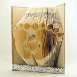 Babatalp hajtogatott könyv origami - Újrahasznosított-Gyermekáldásra - Születés - Csecsemőláb - Kisfiú - E131, Otthon & lakás, Gyerek & játék, Dekoráció, Dísz, Lakberendezés, Hajtogatott könyv vagy más néven könyv origami.  Fiús és lányos színben is rendelhető.  ****ALAP INF..., Meska