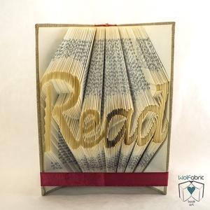 READ feliratos hajtogatott könyv-egyedi 4 betűs szöveg-szerelmespároknak-esküvőre-Könyvtár-Olvas-E209, Otthon & lakás, Dekoráció, Dísz, Lakberendezés, Hajtogatott könyv vagy más néven könyv origami.  Egyedi elképzelés alapján bármilyen szöveg elkészít..., Meska