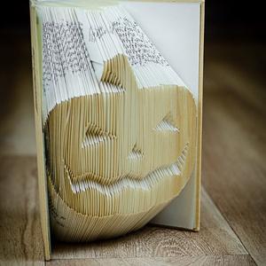 Tökfej mintájú hajtogatott könyv-Újrahasznosított-Mindenszentek-Halloween-Ijesztő- Lámpás-origami-E248, Hangulatlámpa, Lámpa, Otthon & Lakás, Papírművészet, Hajtogatott könyv vagy más néven könyv origami. \n\n****ALAP INFORMÁCIÓK****\nA hajtogatott könyv ideál..., Meska