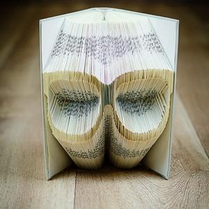 Szemüveg formájú könyvszobor - olvasás - napszemüveg - E212, Otthon & lakás, Karácsony, Dekoráció, Képzőművészet, Lakberendezés, Ünnepi dekoráció, Hajtogatott könyv vagy más néven könyv origami.   ****ALAP INFORMÁCIÓK**** A hajtogatott könyv ideál..., Meska