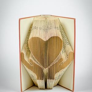 Keresztelőre ajándék lánynak, Szív mintájú hajtogatott könyv origami, Első áldozásra fiúnak, Tanárnak, Óvónőnek, E367  (Wolfabric) - Meska.hu