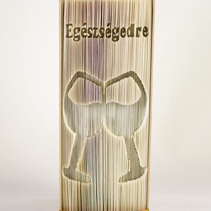Borospoharak formájú könyvszobor - Egészségedre - borkóstoló - borász - borszakértő - sommelier - ajándék - E661, Férfiaknak, Konyhafőnök kellékei, Sör, bor, pálinka, Hajtogatott könyv vagy más néven könyv origami.   ****ALAP INFORMÁCIÓK**** A hajtogatott könyv ideál..., Meska
