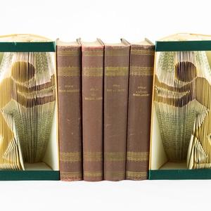 Balra-Jobbra toló ember formájú könyvszobrok, könyvtámasz, lakás dekoráció, lakásdísz, könyvmolynak versek, E238-239 (Wolfabric) - Meska.hu