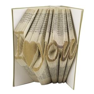 I love you feliratos hajtogatott könyvszobor - Szerelmes pároknak - Esküvőre - Valentin napra - Karácsonyra - E381, Otthon & lakás, Dekoráció, Dísz, Lakberendezés, Utcatábla, névtábla, ****ALAP INFORMÁCIÓK**** A hajtogatott könyv ideális ajándéknak bizonyul életünk minden nagyobb esem..., Meska