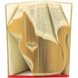 Macska szívvel könyvszobor-Állatbarátoknak-Cica-Gazdi-Ajándék-E169, Otthon & lakás, Lakberendezés, Dekoráció, Dísz, Hajtogatott könyv vagy más néven könyv origami.   ****ALAP INFORMÁCIÓK**** A hajtogatott könyv ideál..., Meska