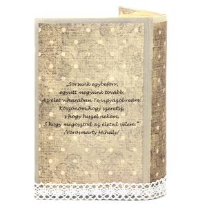 Exkluzív vintage külső könyvborító könyvszoborhoz, Rusztikus hangulattal, rózsás díszítéssel (Wolfabric) - Meska.hu