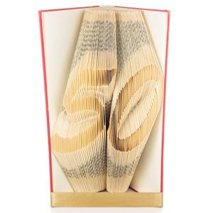 50 - Egyedi számos hajtogatott könyv origami - könyvszobor ötvenedik születésnapra - évfordulóra, Otthon & lakás, Dekoráció, Dísz, Lakberendezés, Hajtogatott könyv vagy más néven könyv origami.  Egyedi elképzelés alapján bármilyen szöveg elkészít..., Meska