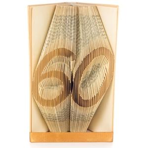 60 - Egyedi számos hajtogatott könyv origami - könyvszobor hatvanadik születésnapra - évfordulóra, Könyvszobor, Dekoráció, Otthon & Lakás, Papírművészet, Újrahasznosított alapanyagból készült termékek, Hajtogatott könyv vagy más néven könyv origami. \nEgyedi elképzelés alapján bármilyen szöveg elkészít..., Meska