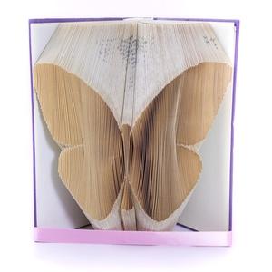 Pillangó mintájú hajtogatott könyv origami - lepke - állatbarátoknak - E128, Otthon & lakás, Dekoráció, Dísz, Lakberendezés, Hajtogatott könyv vagy más néven könyv origami.   ****ALAP INFORMÁCIÓK**** A hajtogatott könyv ideál..., Meska