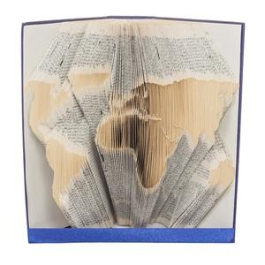 Világtérkép formájú könyvszobor - Föld - Amerika - Európa - Ázsia - Afrika - E255, Otthon & lakás, Karácsony, Dekoráció, Képzőművészet, Lakberendezés, Ünnepi dekoráció, Hajtogatott könyv vagy más néven könyv origami.   ****ALAP INFORMÁCIÓK**** A hajtogatott könyv ideál..., Meska