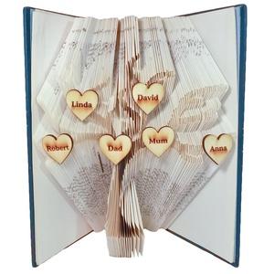 Családfa mintájú hajtogatott könyv origami-könyvszobor-anya-apa-papa-mama-gyerek-nagyszülők-dédszülők - E246, Otthon & lakás, Karácsony, Dekoráció, Képzőművészet, Ünnepi dekoráció, Hajtogatott könyv vagy más néven könyv origami.   ****ALAP INFORMÁCIÓK**** A hajtogatott könyv ideál..., Meska
