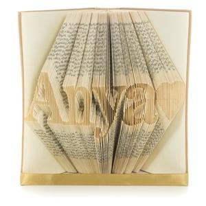"""""""Anya szeretlek"""" hajtogatott könyvszobor, Anyák napjára, Anyának, Karácsonyra, Otthon & lakás, Dekoráció, Dísz, Ünnepi dekoráció, Anyák napja, ****ALAP INFORMÁCIÓK**** A hajtogatott könyv ideális ajándéknak bizonyul életünk minden nagyobb esem..., Meska"""