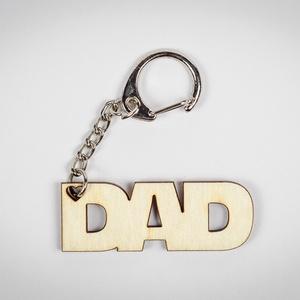 """Dad kulcstartó - lézer vágott fa - Apák napi ajándék - személyes - természetes - KUL002, Egyéb, Kulcstartó, táskadísz, Táska, Divat & Szépség, Dekoráció, Otthon & lakás, Gravírozás, pirográfia, ****ÉRZÉSEK****\n\nReggeli sietés közben: \n\""""Drágám, hol van a kulcscsomóm?\""""\nNincs válasz....\n\nAjándéko..., Meska"""