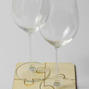 Kirakós játék lézervágott fa poháralátét - nagy méretű - puzzle - kávénak - teának - vintage - A009 (wolflaserart) - Meska.hu