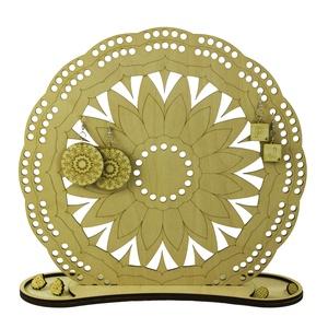 Napraforgó mandala fa ékszertartó - virágos - fülbevalótartó - lézervágott - natúr ékszer - harmónia - spirituális jóga (wolflaserart) - Meska.hu