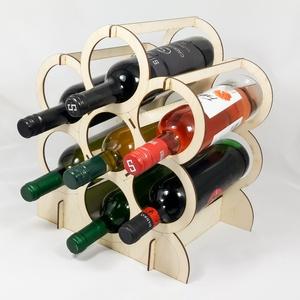 Borosüveg tartó - 7 borospalack - férfiaknak - fából - lézervágott - természetes - borosüveg állvány - BOR001 (wolflaserart) - Meska.hu