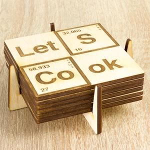 Let's Cook lézervágott fa poháralátét szett - Szakácsnak  - Sörnek - Bornak - Breaking Bad sorozat - Heisenberg, Otthon & Lakás, Tányér- és poháralátét, Konyhafelszerelés, 6 darabos alátét szett Let's Cook felirattal  ****ÉRZÉSEK****  El tudsz képzelni egy olyan csodás es..., Meska