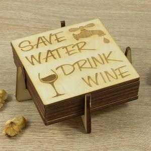 Save water drink wine lézervágott fa poháralátét szett - Séfnek - Boros - Konyhába - Apának - Lakodalomra, Otthon & Lakás, Tányér- és poháralátét, Konyhafelszerelés, Prémium minőségű 6 darabos alátét szett. Save Water Drink Wine.  Vagyis védd a vizet, igyál bort......., Meska