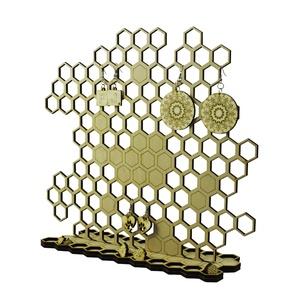 Méhsejtes ékszertartó, méhész fülbevalótartó - lézervágott - natúr ékszer, Ékszer, Asztali ékszertartó, Ékszertartó, Stílusos, egyedi tervezésű ékszertartó. Fülbevalóid csak egy éjszakát pihennek rajta és máris megtör..., Meska