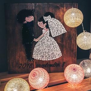 Menyasszony és vőlegény, Esküvő, Nászajándék, Dekoráció, Otthon & lakás, Kép, Famegmunkálás, Újrahasznosított alapanyagból készült termékek, Menyasszony és vőlegény- nászajándékként tökéletes ajándék az ifjú párnak a nagy nap dátumával ellát..., Meska