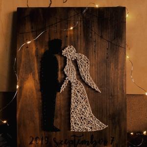 Menyasszony és vőlegény/fekete-fehér, Esküvő, Nászajándék, Emlék & Ajándék, Famegmunkálás, Gravírozás, pirográfia, Menyasszony és vőlegény/ fekete-fehér- nászajándékként tökéletes ajándék az ifjú párnak a nagy nap ..., Meska