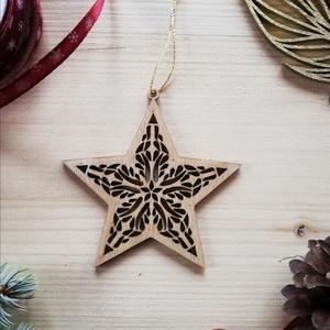 Natúr - karácsony dísz1, Karácsonyfadísz, Karácsony & Mikulás, Otthon & Lakás, Famegmunkálás, Natúr, ezüst, arany\n\nAz oldalamra felkerült minden díszem- az arany és az ezüst is- mind-mind fából ..., Meska
