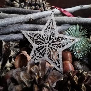 Csillag (A) nagy ezüst - karácsonyfadísz, Karácsonyfadísz, Karácsony & Mikulás, Otthon & Lakás, Famegmunkálás, Natúr, ezüst, arany\nAz oldalamra felkerült minden díszem- az arany és az ezüst is- mind-mind fából k..., Meska
