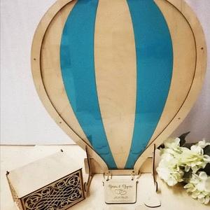 Hőlégballon - különleges vendégkönyv, Esküvő, Esküvői dekoráció, Meghívó, ültetőkártya, köszönőajándék, Nászajándék, Famegmunkálás, A hőlégballon biztosan felkelti majd a vendégek figyelmét és nem felejtenek el írni pár kedves szót ..., Meska