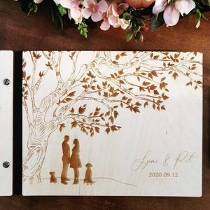 Vendégkönyv esküvőre, nászajándékként - fekete, Vendégkönyv, Emlék & Ajándék, Esküvő, Fotó, grafika, rajz, illusztráció, Famegmunkálás, Fa borítású vendégköny/ fotóalbum esküvőre.\nNászajándékként adva fotóalbum a párnak, az esküvőre ren..., Meska