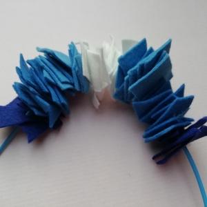 Kék filc statement nyaklánc , Ékszer, Nyaklánc, Statement nyaklánc, Ékszerkészítés, Kék-fehér színű filc ékszer világoskék ekobőrön. Fehér, kék és lila árnyalatúak. \nHossz: 50cm. Hossz..., Meska