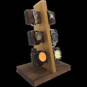 Óratartó 6 db-os (Diófa és Cseresznyefa), Asztali ékszertartó, Ékszertartó, Ékszer, Famegmunkálás, A kétféle fa felhasználásával kialakított álló tartón 6 db karóra helyezhető el. A tömör keményfák t..., Meska