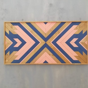 Fali dísz fából, Falra akasztható dekor, Dekoráció, Otthon & Lakás, Famegmunkálás, Modern kézműves fali dísz hulladékfa felhasználásával.\n\n\nMérete: 80*40 cm.\n\nA hátoldalán lévő fém ak..., Meska