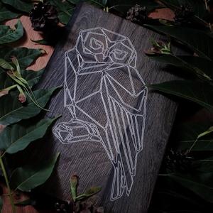 Gravírozott falikép bagoly mintával, Otthon & lakás, Dekoráció, Lakberendezés, Falikép, Kép, Férfiaknak, Legénylakás, Gravírozás, pirográfia, Kézzel készített 18*30cm-es prémium Egger fából készült falikép., Meska