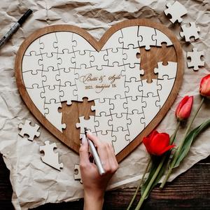Szív alakú Alternatív Esküvői Vendégkönyv, Emlékkönyv, Esküvő, Emlék & Ajándék, Vendégkönyv, Famegmunkálás, Alternatív, fából készült esküvői vendégkönyv, így a násznép kreatív, játékos formában adhatja át a ..., Meska
