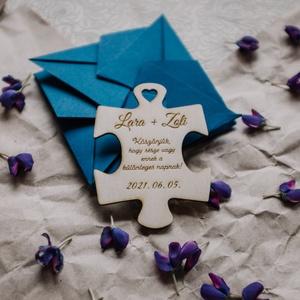 Esküvői Puzzle Köszönetajándék, hűtőmágnes, Esküvő, Emlék & Ajándék, Köszönőajándék, Famegmunkálás, Egyedi, rétegelt lemezből készült puzzle alakú hűtőmágnes, mellyel köszönetet mondhatsz szeretteidne..., Meska