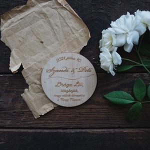 Esküvői köszönőajándék, poháralátét, Esküvő, Emlék & Ajándék, Köszönőajándék, Famegmunkálás, Gravírozás, pirográfia, Meska