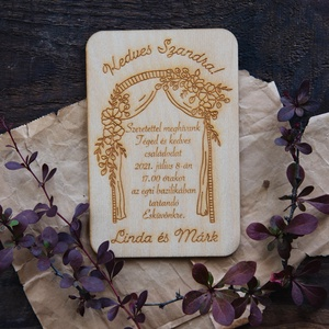Romantikus fa esküvői meghívó, Esküvő, Meghívó & Kártya, Meghívó, Famegmunkálás, Gravírozás, pirográfia, Ha igazán egyedi és különleges meghívóval szeretnéd meginvitálni szeretteidet a Nagy Napra, akkor ez..., Meska