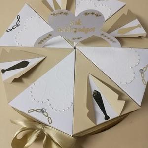 Papírtorta esküvőre, Esküvő, Nászajándék, Esküvői dekoráció, Papírművészet, Egyedi és poénos ajándék esküvőre. Minden szelet nyitható, apró ajándékok, pénz rejthető el benne. A..., Meska
