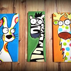 Vicces-állati falikép , Otthon & Lakás, Dekoráció, Kép & Falikép, Festészet, Három képből álló gyerekszoba dekoráció, mely kortól és nemtől független. A képek mérete 32x15 cm el..., Meska