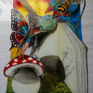 Harmattündér, Festmény vegyes technika, Festmény, Művészet, Festészet, 50X60 cm-es festett üveg, üvegfestmény vegyes technikával (akril és üvegfesték) \n, Meska