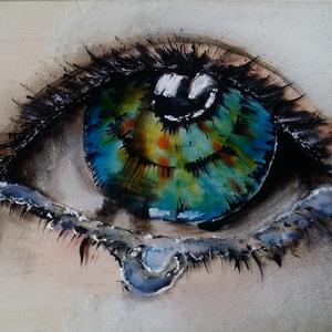 """L\""""amour Paris, Otthon & lakás, Dekoráció, Kép, Képzőművészet, Festmény, Napi festmény, kép, Festmény vegyes technika, Festészet, 13x18 cm festett üveg, üvegfestmény\nkeret nélküli falra akasztható változatban.\nEgyedi készítés, ezé..., Meska"""