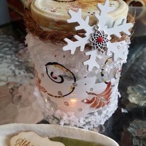 Karácsonyi Hangulatlámpás, Karácsony & Mikulás, Karácsonyi dekoráció, Festett tárgyak, Újrahasznosított alapanyagból készült termékek, Kedves, retro hangulatú, egyedileg, kézzel készült üvegfestett hangulatlámpás. Az üveg mosható, tisz..., Meska