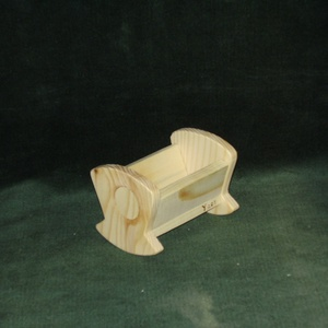 Baba bölcső, Gyerek & játék, Játék, Fajáték, Baba játék, Famegmunkálás, 10 cm-es fenyőből készült bababölcső, Meska