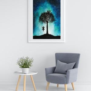 Galaxy akvarell nyomat, Művészi nyomat, Művészet, Festészet, Galaxy témájú kép hintázó kislánnyal: eredeti akvarell festményem alapján készült nyomat.\n\nMinden ny..., Meska