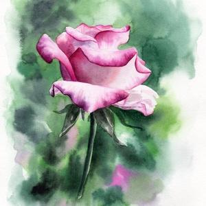 Rózsa akvarell nyomat, Művészi nyomat, Művészet, Festészet, Rózsa: az eredeti akvarell festményem alapján készült nyomat.\n\nMinden nyomat, festmény KERET nélkül ..., Meska
