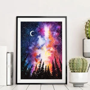 Galaxy akvarell nyomat, Művészet, Festmény, Akvarell, Festészet, Galaxy témájú kép: eredeti akvarell festményem alapján készült nyomat.\n\nMinden nyomat, festmény KERE..., Meska